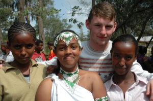 Darragh Moran, Castleknock College with Kiya, Lelise and Agrtu from Ambo, Ethiopia.